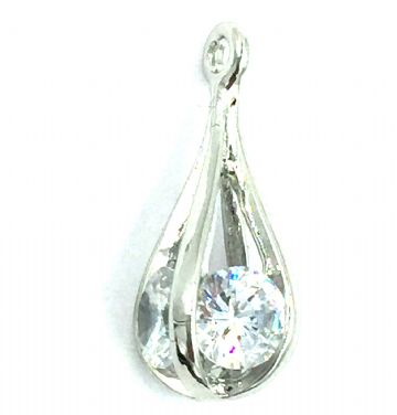 Crystal charm / pendant - Caged pear drop - 8mm x 20mm - rhodium